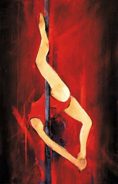 Art Danse : Peinture sur toile des acrobaties d'une danseuse de pole Dance
