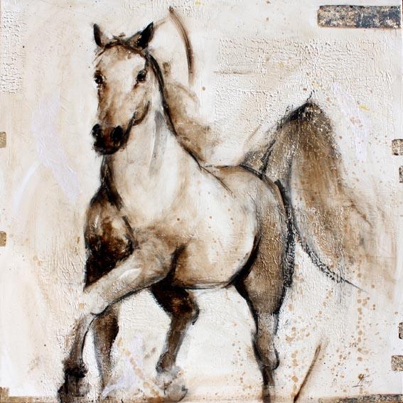 Art chevaux Pur sang arabe : Peinture sur toile des superbes allures d'un cheval au trot