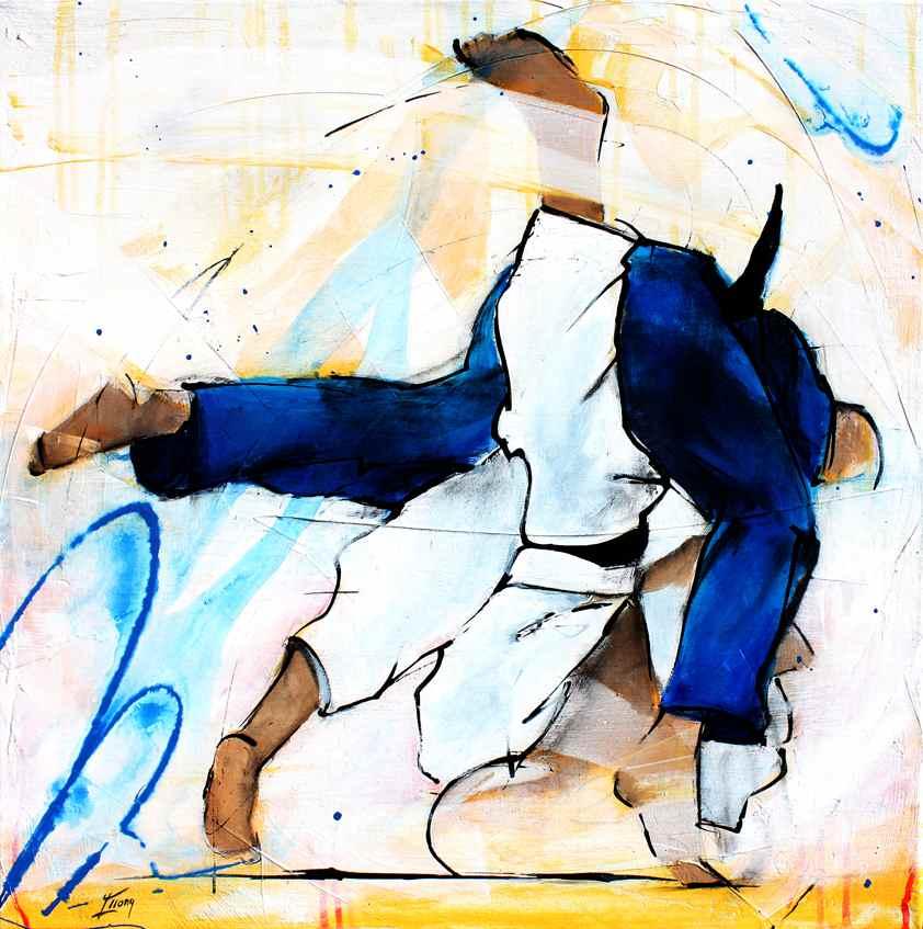 Tableau Art sport judo : Peinture sur toile sur le judo
