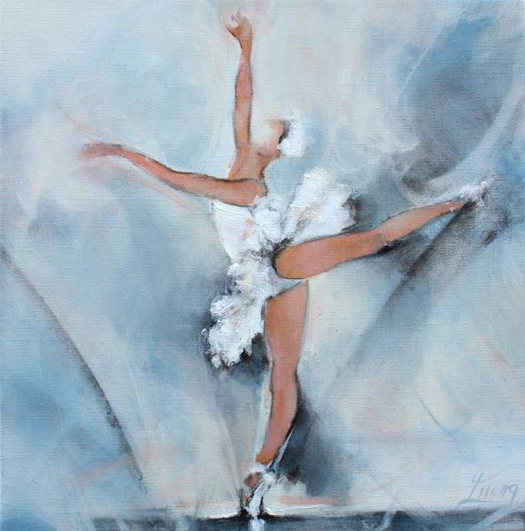 Art Danse Ballet : Peinture sur toile d'une danseuse de ballet