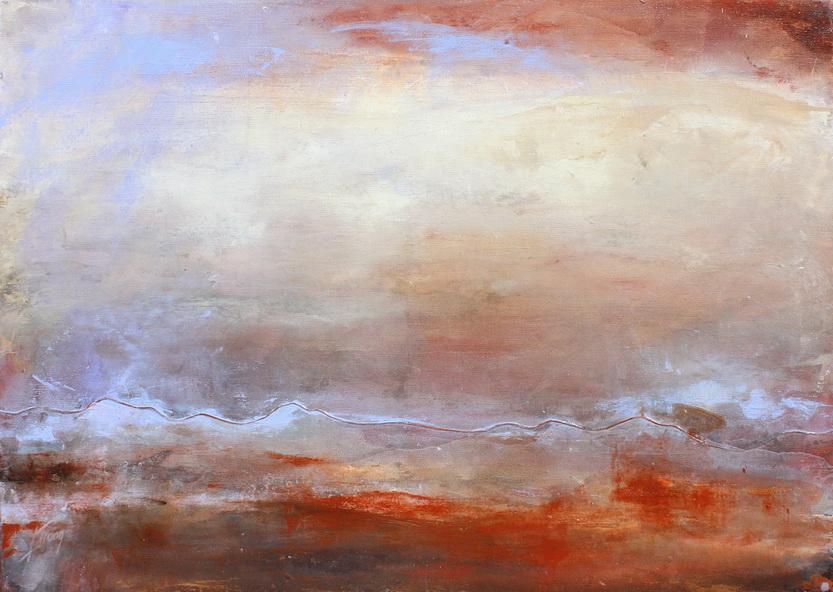 Tableau Art Paysage : Peinture sur toile des volcans du massif du sancy et de la chaîne des puys avec le Puy Pariou et Puy de Dome en auvergne prés de Clermont Ferrand dans le massif central