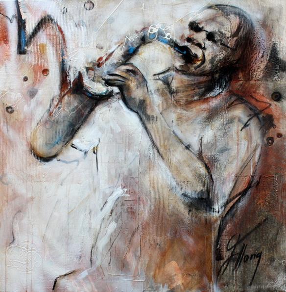 Tableau Art Musique Jazz Musicien : Peinture sur toile d'un musicien au saxophone vibrant au ryhtme de sa musique