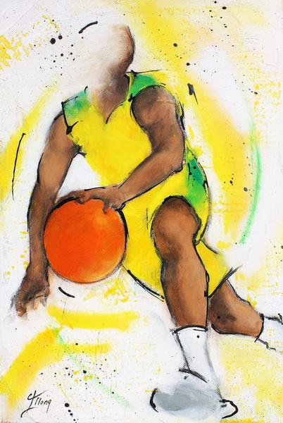 Art sport collectif basket : Peinture sur toile d'un joueur de basketball dribblant vers la raquette