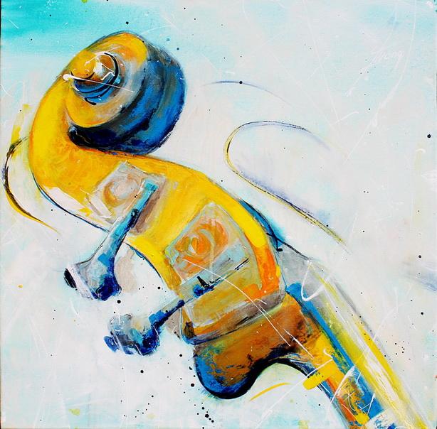 Tableau Art Musique musicien : Peinture sur toile d'une contrebasse en gros plan