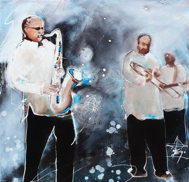 tableau Art Musique Jazz musicien : Peinture sur toile d'un groupe de musiciens de jazz lors d'un concert