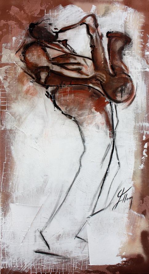 Tableau Art Musique Jazz musicien : Peinture sur toile d'une performance solo de saxophone par un musicien de JAZZ