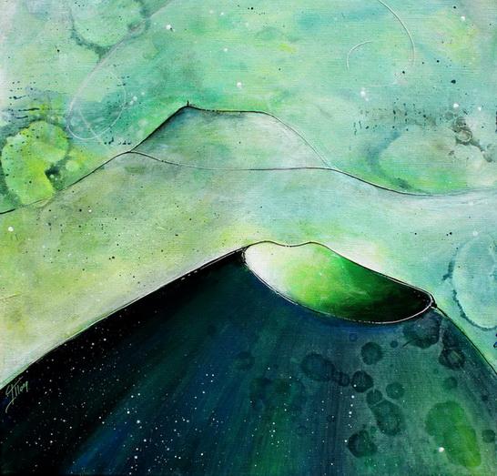 Tableau Art Paysage : Peinture sur toile des volcans de la chaîne des puys avec le Puy de come et Puy de Dome en Auvergne près de Clermont Ferrand