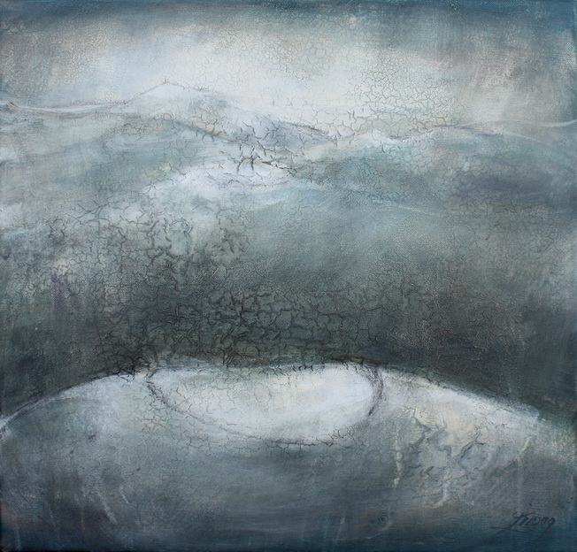 Tableau Art Paysage : Peinture sur toile des volcans de la chaîne des puys avec le Puy Pariou et Puy de Dome en auvergne prés de Clermont Ferrand dans le massif central dans la brume