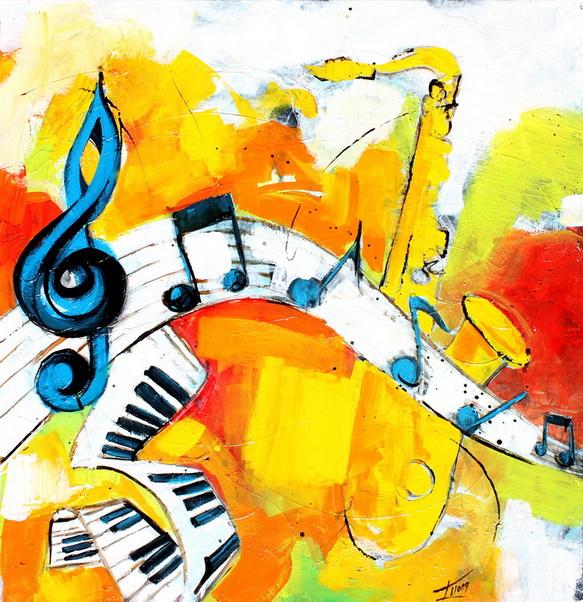 Art Musique : Peinture sur toile de l'harmonie musicale des instruments (trompette, piano, etc ...) avec les notes sur la portée