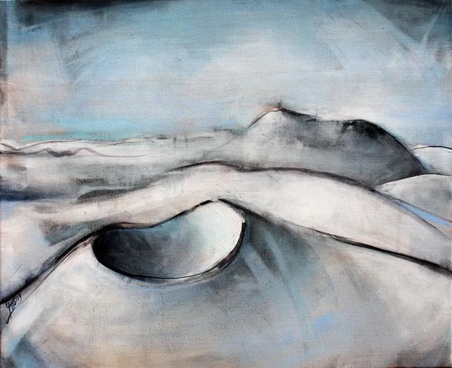 Tableau Art Paysage : Peinture sur toile des volcans de la chaîne des puys avec le Puy Pariou et Puy de Dome en auvergne prés de Clermont Ferrand dans le massif central en hiver