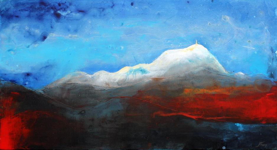 Tableau Art Paysage : Peinture sur toile des volcans de la chaîne des puys avec le Puy Pariou et Puy de Dome en Auvergne près de Clermont Ferrand sous la neige