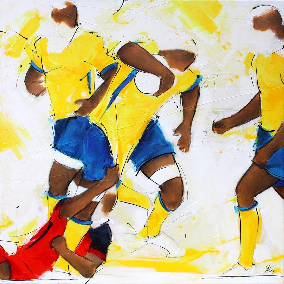 Art tableau sport rugby : peinture sur toile de la finale de TOP 14 2017 opposant le RCT (Rugby Club Toulonnais) à l'ASM Clermont Auvergne pour la conquête du bouclier de Brennus