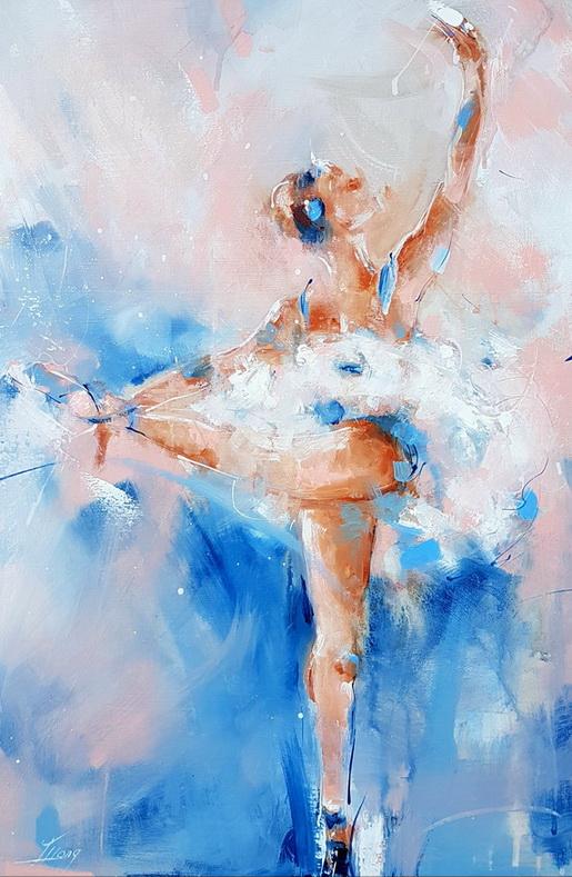 Peinture Danse / Ballet : la peinture sur toile réalisée par Lucie LLONG, artiste peintre du mouvement, à l'occasion des rencontres de Maubourguet 2017 (art et sport) pour une exposition d'oeuvres d'art et une vente aux enchères au profit de l'association HTAP