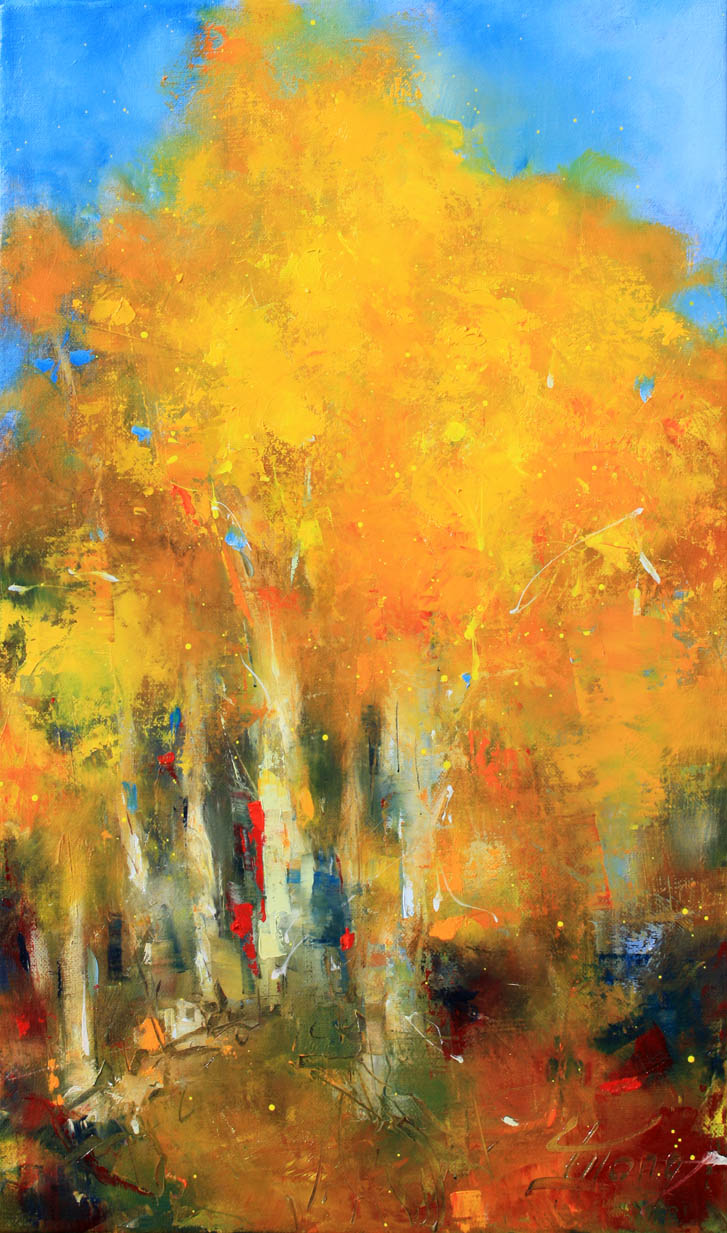 Art tableau paysage forêt : peinture à l'huile sur toile des couleurs magiques de l'automne en montagne