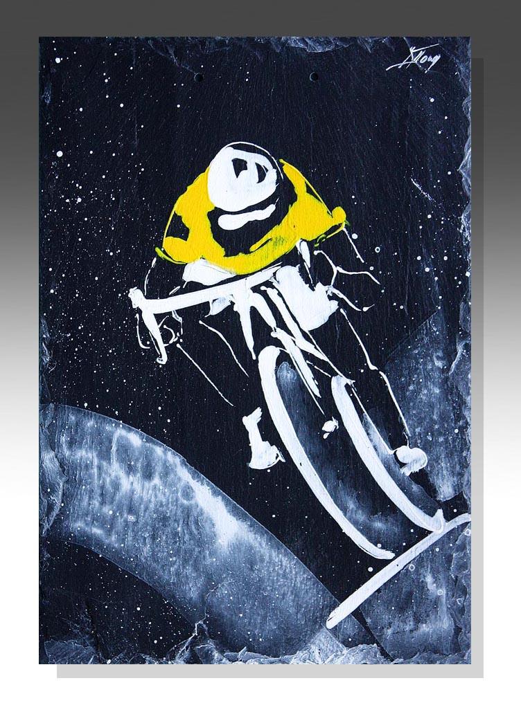 art peinture sur ardoise sport vélo de route cyclisme maillot jaune tour de Franceidée cadeau artistique