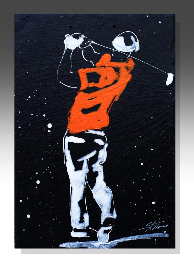 art peinture sur ardoise sport golf golfeur green idée cadeau artistique