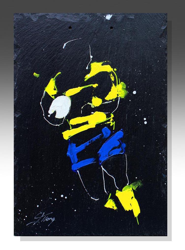 art peinture sur ardoise rugby ASM auvergne top 14 clermont ferrand idée cadeau artistique
