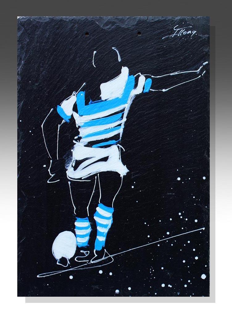 art peinture sur ardoise rugby top 14 racing métro daniel carter clermont ferrand idée cadeau artistique