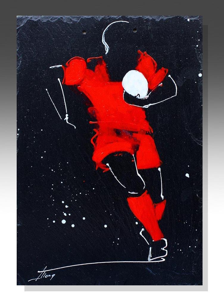 art peinture sur ardoise rugby top 14 RCT toulon clermont ferrand idée cadeau artistique