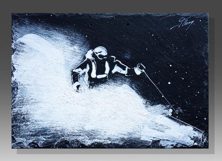 art peinture sur ardoise sport ski alpin idée cadeau artistique