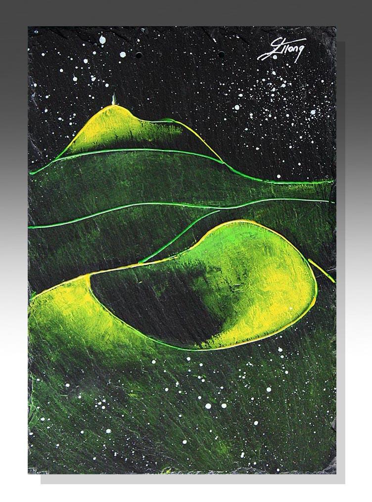 art peinture sur ardoise puy de dôme vert volcan Puy de Come clermont ferrand idée cadeau artistique
