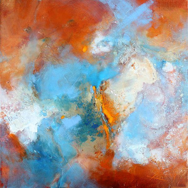 art abstrait : peinture sur toile abstraite orange et bleue réalisée en technique mixte