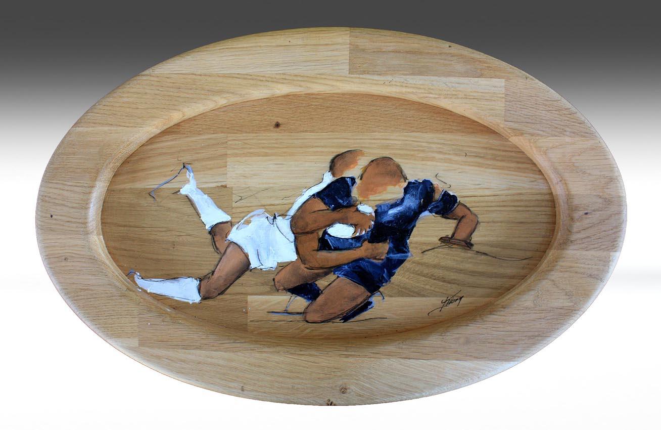 Art artisanat sport rugby : Peinture sur support ovale en bois massif