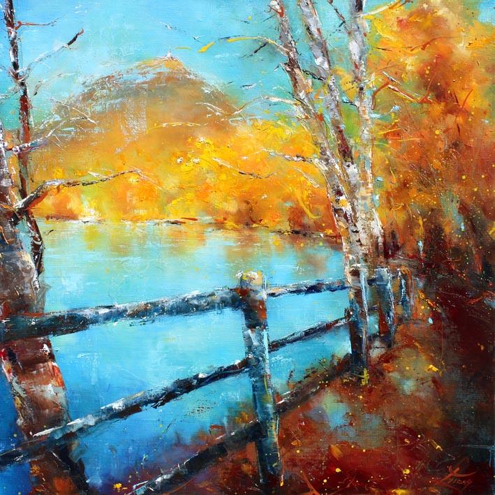 Art tableau paysage puy de dôme : peinture sur toile d'un panorama du puy de dome à l'automne