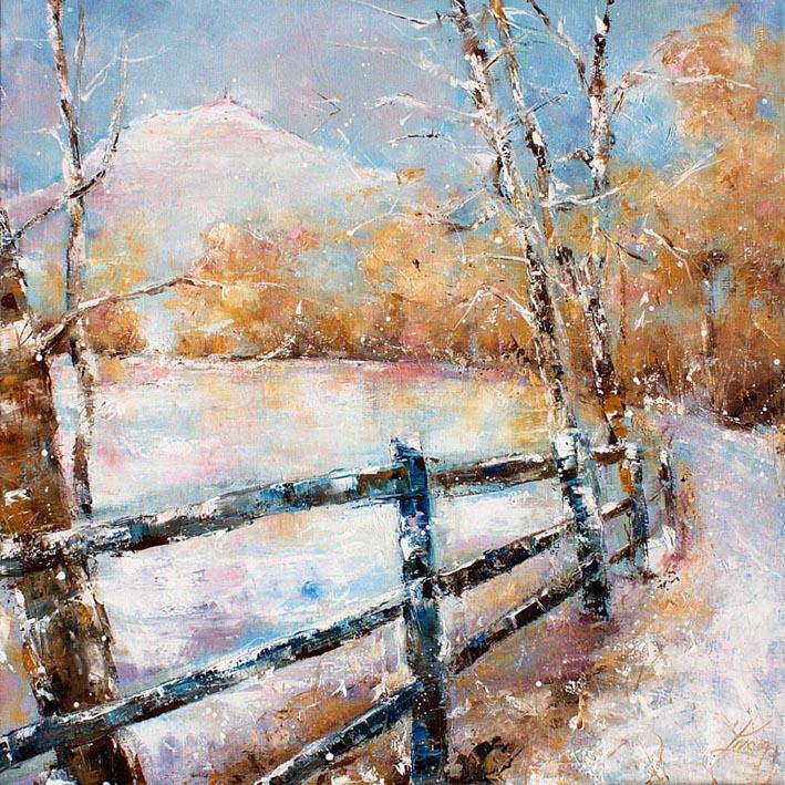 Art tableau paysage puy de dôme : peinture sur toile d'un panorama du puy de dome sous la neige en hiver