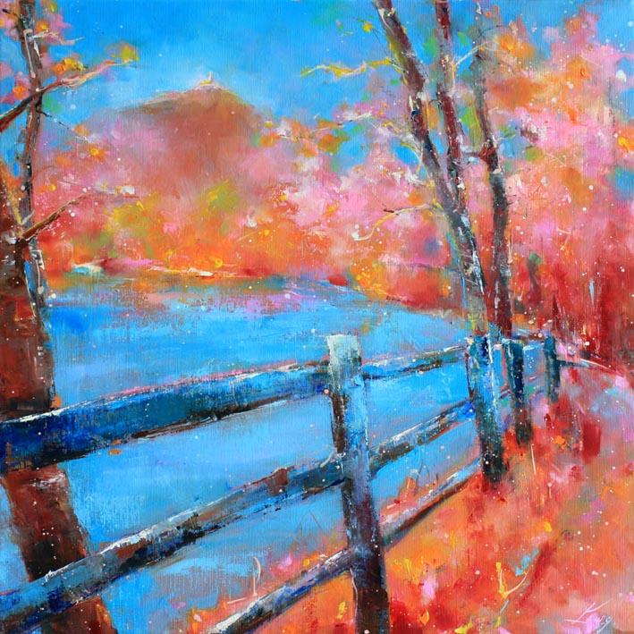 Art tableau paysage puy de dôme : peinture sur toile d'un panorama du puy de dome au printemps