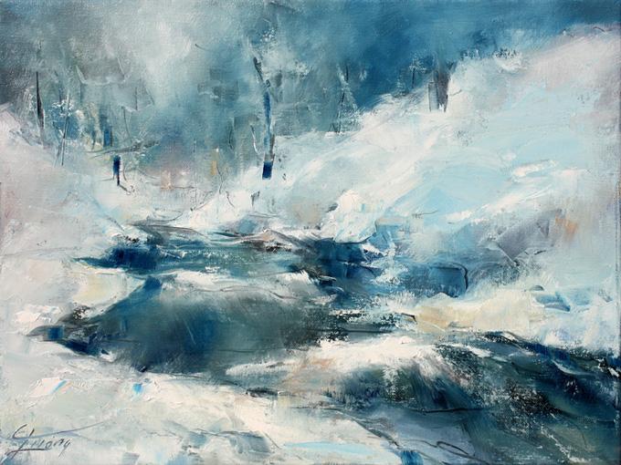 art tableau paysage rivière : Peinture à l'huile sur toile d'une rivière dans un paysage de neige et de glace