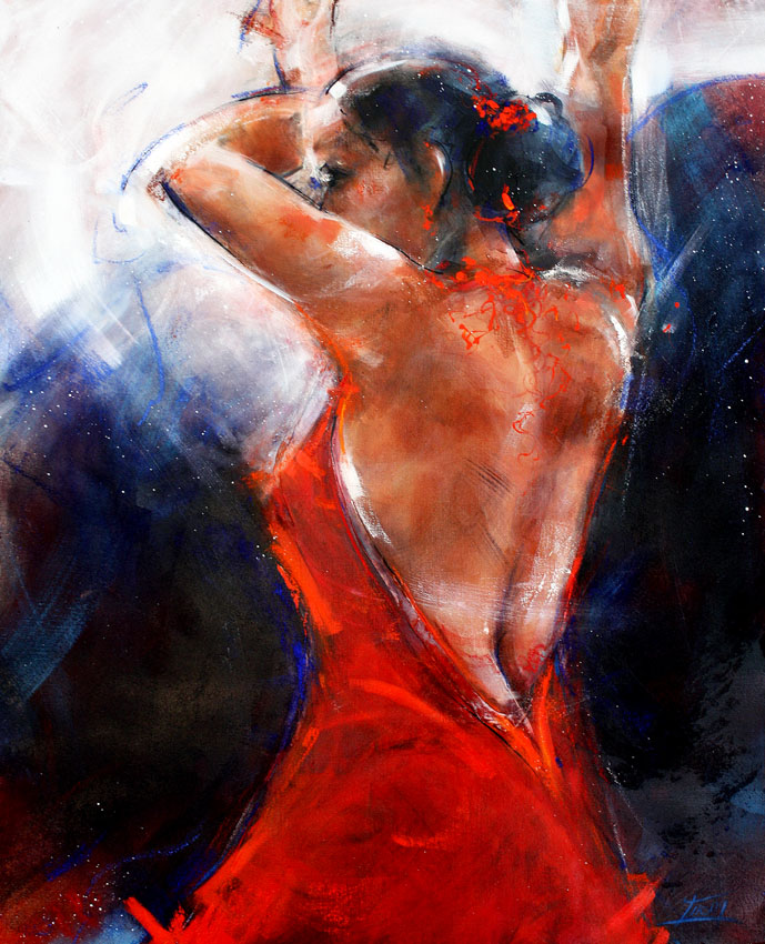 art sport and dance painting : flamenco sensual dancer painting performing on stage