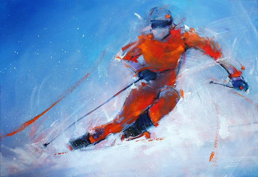 Art canvas winter sport ski olympics : painting - skier on ski edges in fresh powder snow
