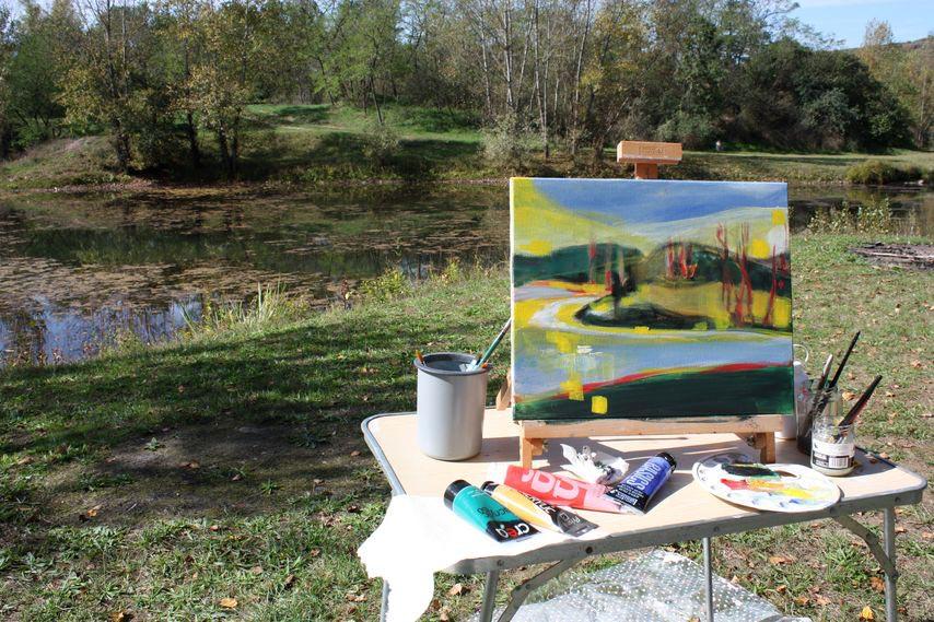 stage et cours de peinture : photo du stage sur le motif en extérieur dans le puy de dôme (aquarelle, huile, acrylique, pastel, dessin, techniques mixtes)