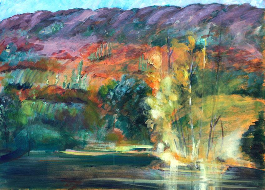 stage et cours de peinture : photo du stage de peinture sur le motif en extérieur (techniques variées: aquarelle, huile, acrylique, pastel)