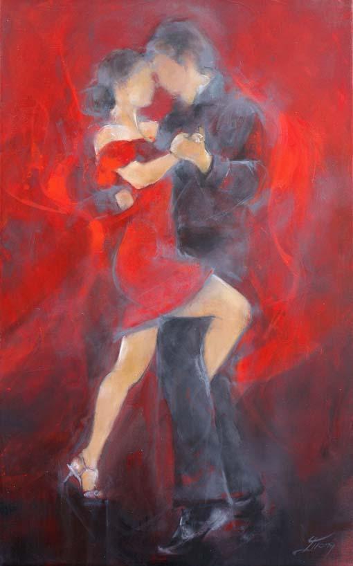 Art tableau danse tango : Peinture sur toile d'un couple de danseurs dansant avec sensualité un tango argentin