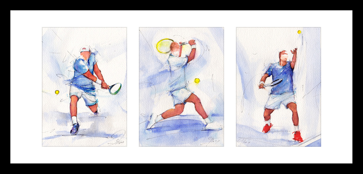 Framed triptych tennis watercolor painting by Lucie LLONG, movement and sport artist :