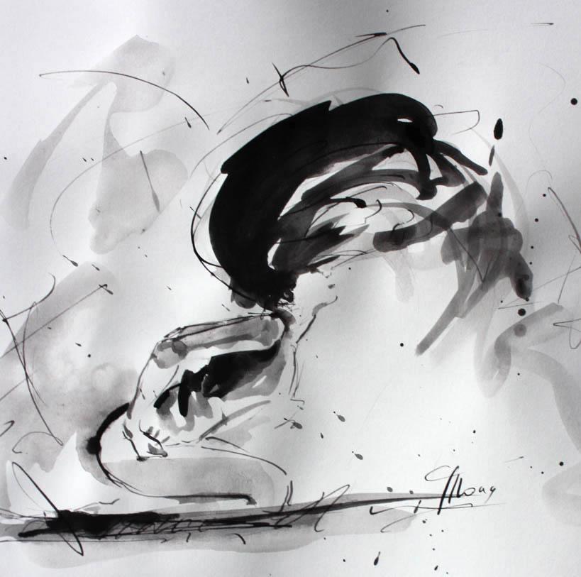 peinture à l'encre et lavis : danse