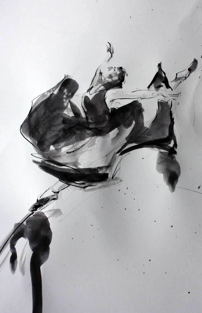 peinture à l'encre et lavis : danse / danseuse