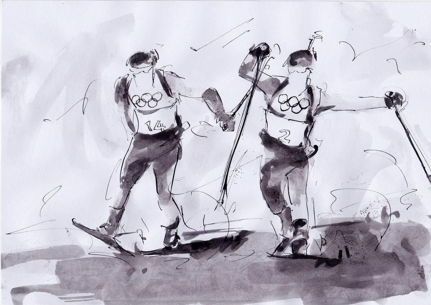 art peinture sport de glisse biathlon Jeux olympiques d'hiver Médaille d'or Pyeongchang JO 2018 : La victoire de Martin Fourcade en biathlon (Mass Start)