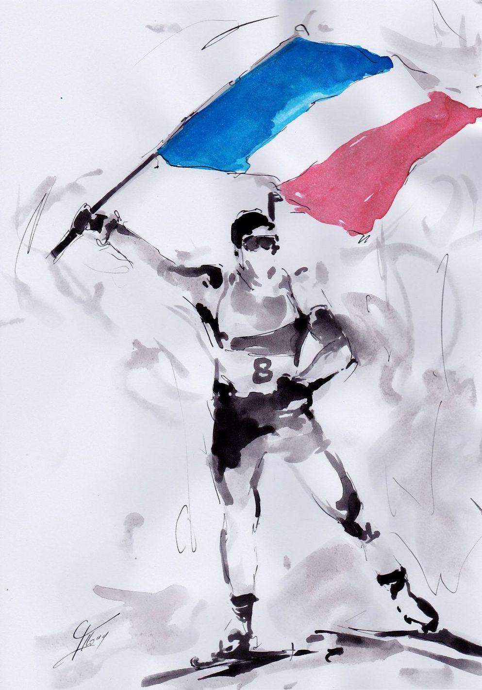 art peinture sport de glisse biathlon Jeux olympiques d'hiver Médaille d'or Pyeongchang JO 2018 :La victoire de Martin Fourcade en biathlon (Poursuite)