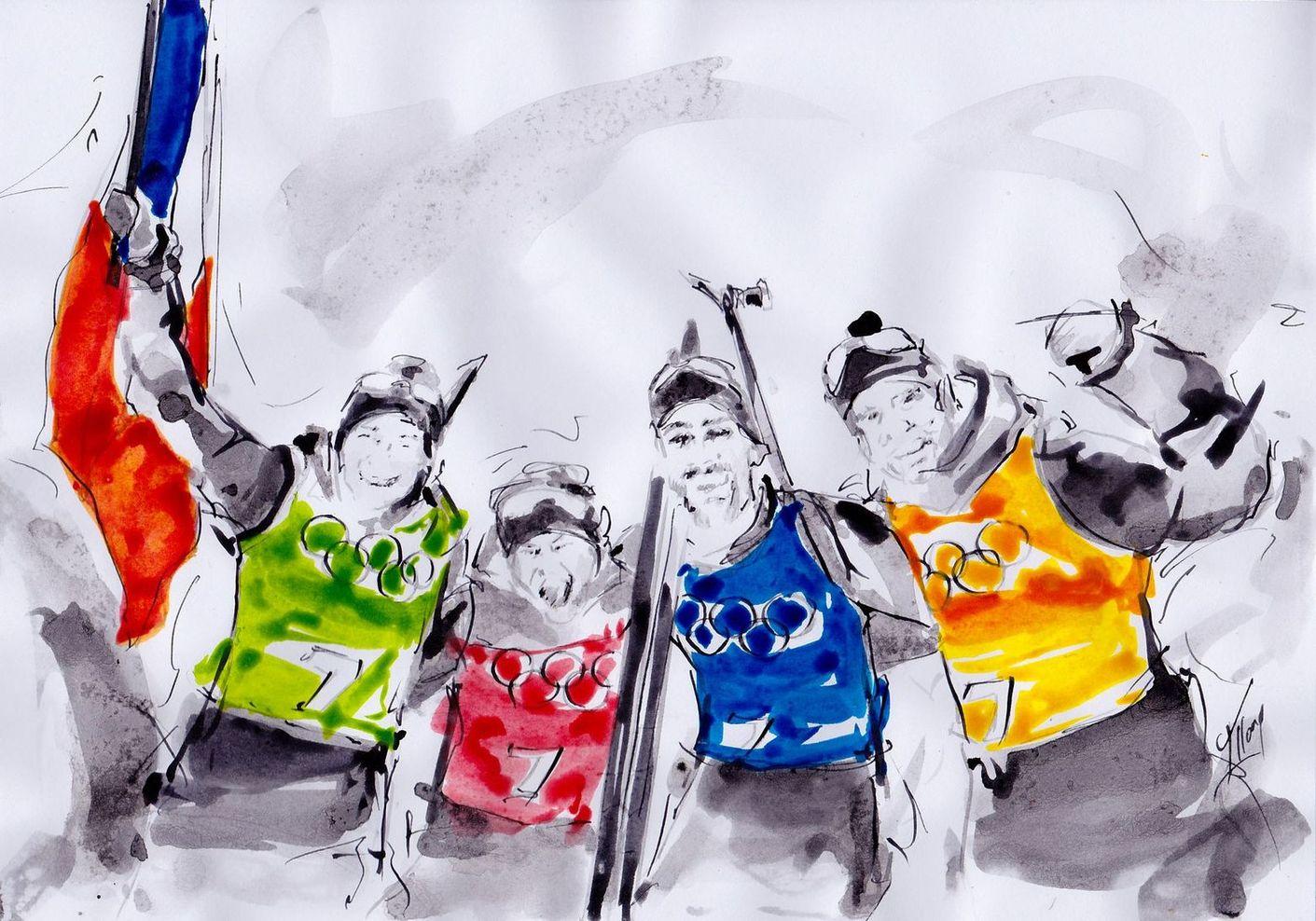 art peinture sport de glisse biathlon Jeux olympiques d'hiver Médaille d'or Pyeongchang JO 2018 :La victoire de Martin Fourcade, Marie Dorin, Anaïs Bescond et Simon Desthieux en biathlon (relais mixte)