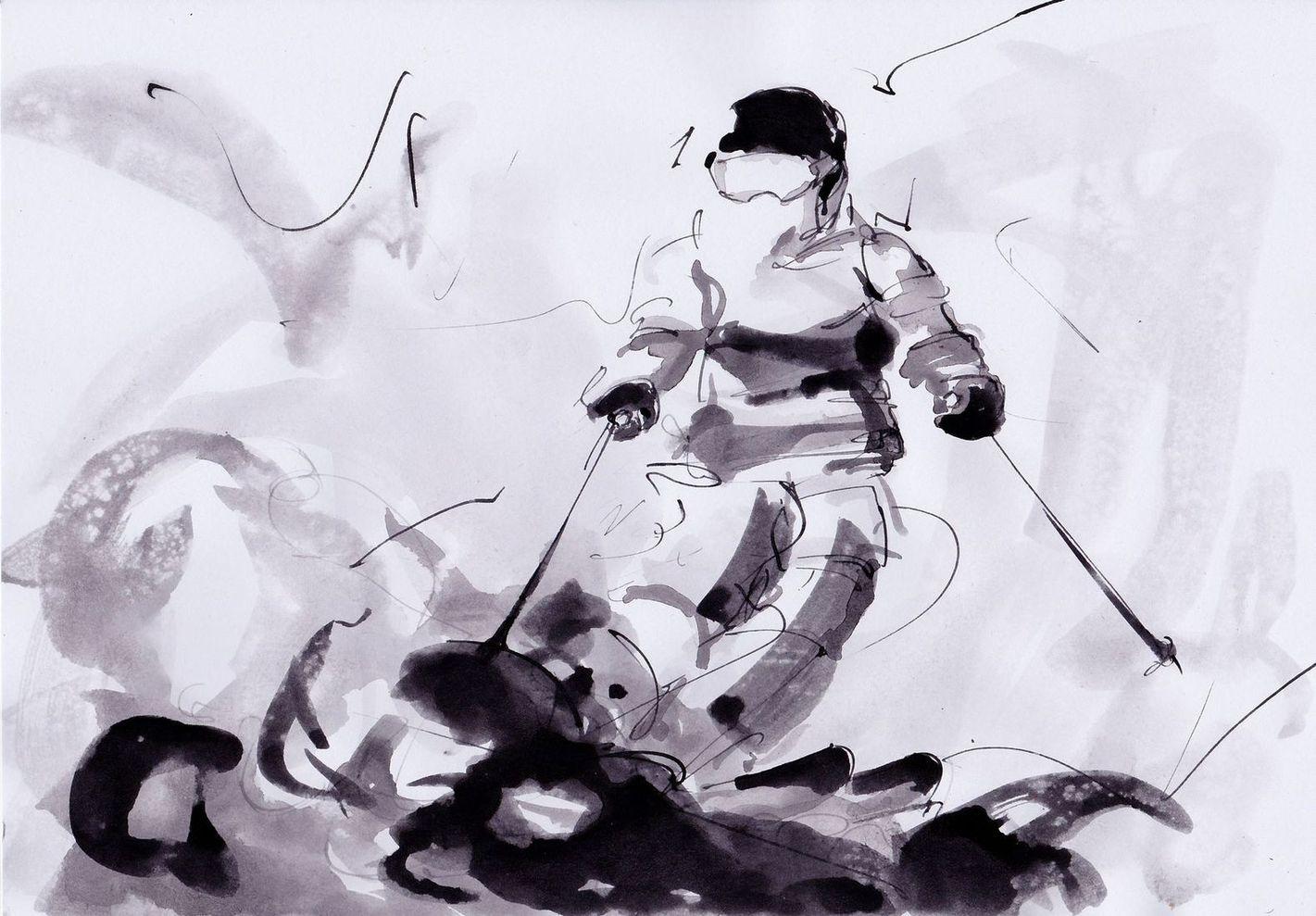 art peinture sport de glisse ski Jeux olympiques d'hiver Médaille d'or Pyeongchang JO 2018 : la victoire de Perrine Laffont en ski acrobatique
