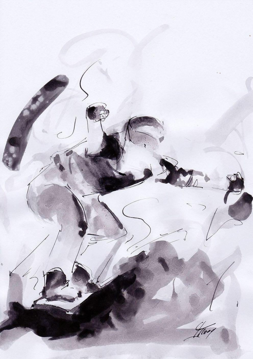 art peinture sport de glisse Jeux olympiques d'hiver Médaille d'or Pyeongchang JO 2018 : La victoire de Pierre Vaultier en snowboad Cross