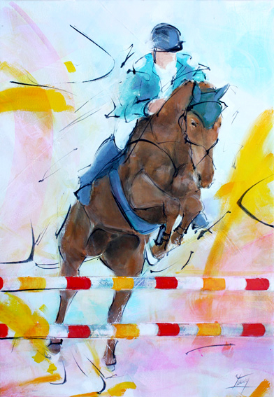 art tableau chevaux équitation : la puissance d'un cheval de CSO sur un obstacle lors d'un Grand Prix