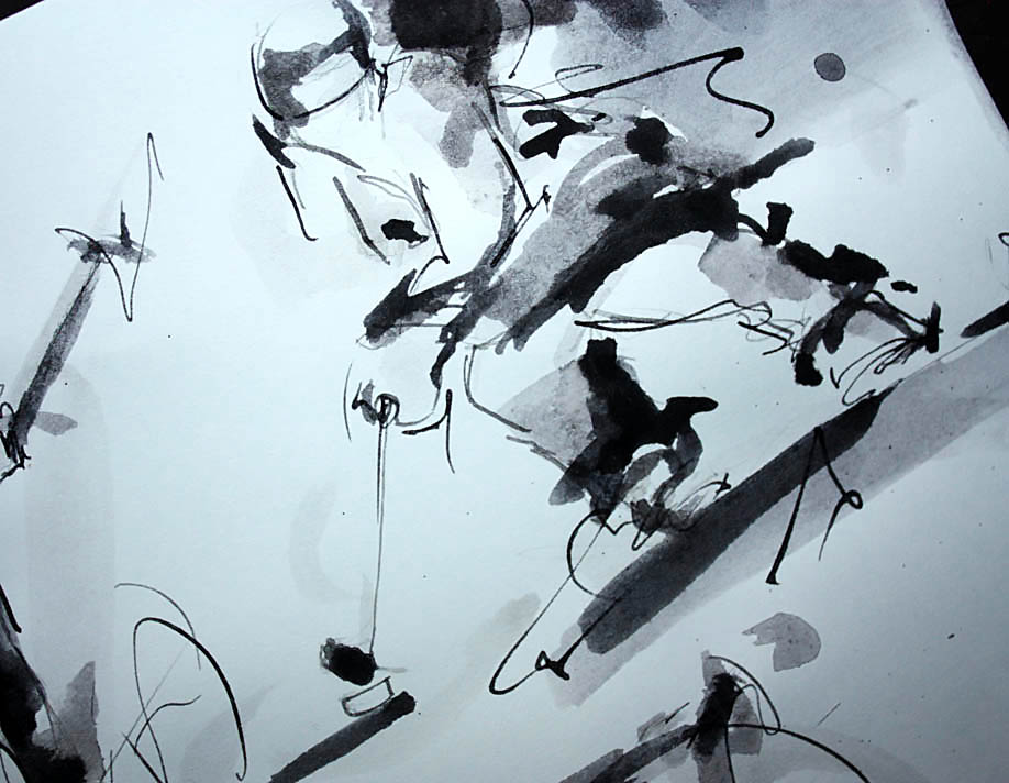 Peinture à l'encre sur le sport : travail préparatoire du tableau winter olympics sur les jeux olympiques d'hiver avec du ski alpin, ski nordique, biathlon, patinage artistique, hockey sur glace, saut à ski