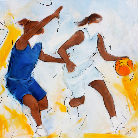 Art painting sport basketball : female basketball game painting on canvas