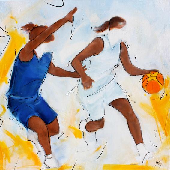 Art tableau sport collectif basketball : peinture sur toile d'une rencontre de basket féminin