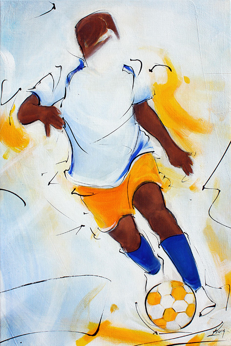 Art painting sport football : soccer player dribbling  on canvas