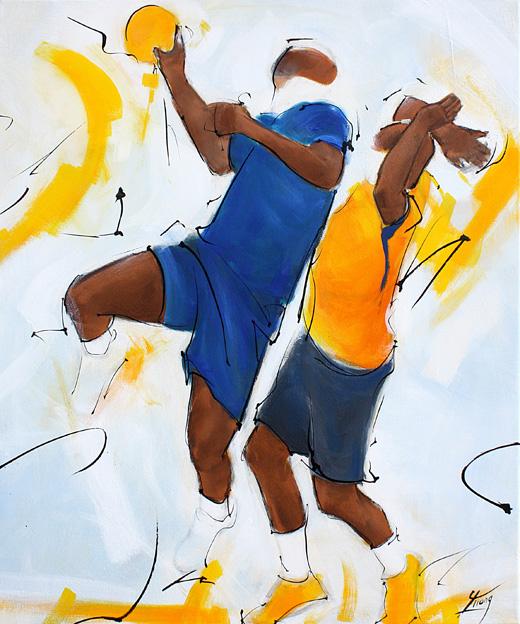 Art tableau sport collectif handball : peinture sur toile d'un joueur de handball des experts de l'équipe de france